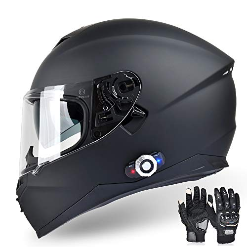 Bluetooth Integrated Motorcycle Helmet, FreedConn DOT Full Face BM12 Communication Systems...