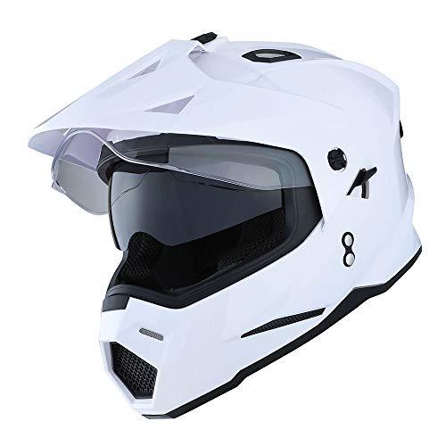 1Storm Dual Sport Motorcycle Motocross Off Road Full Face Helmet Dual Visor Glossy White,...