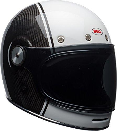 Bell Carbon Adult Bullitt Street Motorcycle Helmet - Gloss Black/White/X-Large