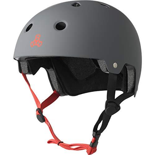 Triple Eight Dual Certified Bike and Skateboard Helmet, Gun Matte, Large / X-Large