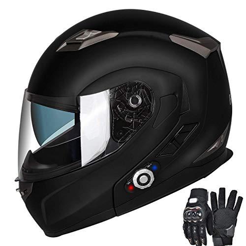 FreedConn Motorcycle Bluetooth Helmets, Bluetooth Modular Helmet 2-3Riders, 500M (MB, L)