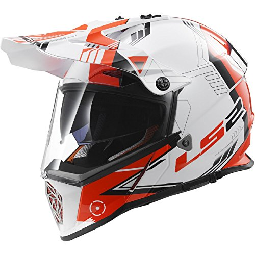 LS2 Helmets Pioneer Trigger Adventure Off Road Motorcycle Helmet with Sunshield (Red,...