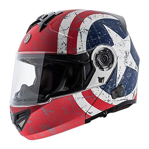TORC T27B1 FWT RS T27B Full Face Modular Helmet with Blinc Bluetooth (Rebel Star, X-Large)
