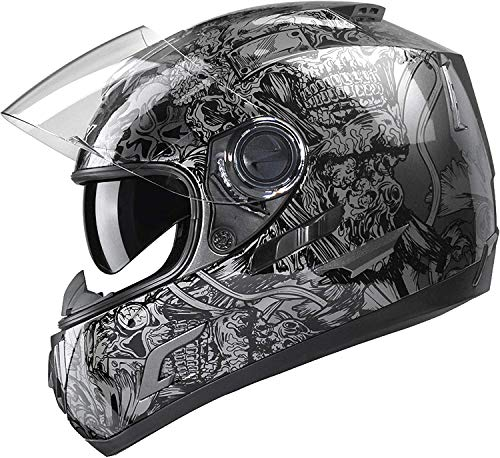 GLX Unisex-Adult GX15 Lightweight Full Face Motorcycle Street Bike Helmet with Internal...