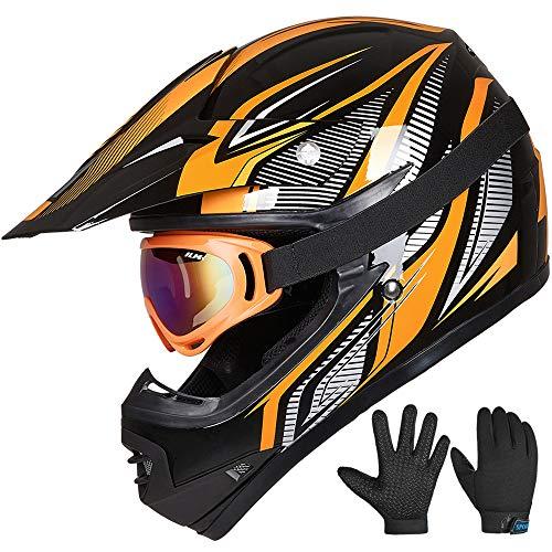 ILM Youth Kids ATV Motocross Helmet Goggles Sports Gloves Dirt Bike Motorcycle Off Road...