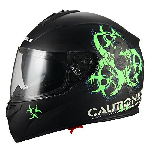 TRIANGLE Motorcycle Helmet Full Face Dual Visor Street Bike Biohazard Helmet Unisex[DOT]...