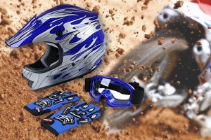 dirt bike helmet goggles gloves