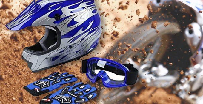 dirt bike helmet goggles gloves